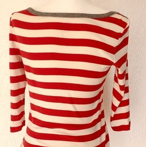 GAP boatneck red and white striped top